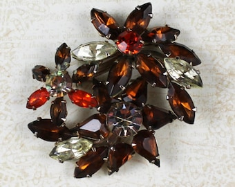 Vintage Brown, Orange and Yellow Rhinestone Gold Floral Cluster Brooch