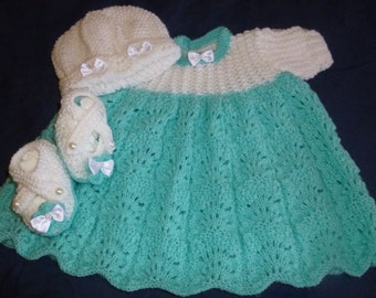 Beautiful dress bonnet and slipper set
