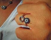 Evil eye ring - evil eye sterling silver ring -blue Evil Eye Ring - Adjustable- Stacking Ring - Statement Ring - Cocktail Ring - valentine