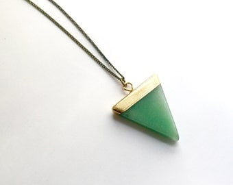 Boho Necklaces Women SWEET AVENTURINE Triangle Necklace Simple Necklace Bohemian Tribal Natural Stone Necklace