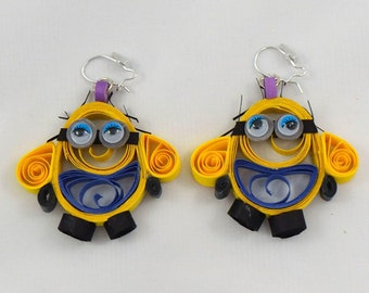 Paper Quilling Minion Earrings - Free postage in Australia