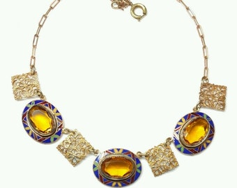 Beautiful Art Deco Citrine Czech Crystal Ornate Enamel Vintage Necklace Art Deco Jewelry