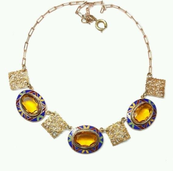 beautiful art deco citrine czech crystal ornate enamel vintage