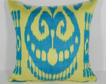 blue yellow ikat cushion cover, pillow cover, ikats, uzbekistan, sofa pillows, yellow and blue colors, hand woven ikat, authentic ikat