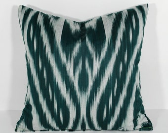15x15 dark green cotton pillow, cushion, ikat, dark green ikat pillow cover, dark green ikat cushion, home interior decoration