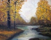 vintage Autumn painting on canvas. Original landscape art. Fall leaves foliage, river stream, signed CAS. Chippy distressed wood frame.