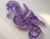 Vintage Purple Lucite Sea Horse Abalone Shell Flakes Lilac