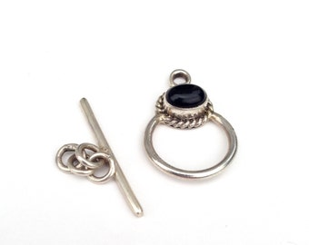 Sterling Silver with Onyx Toggle Clasp