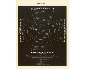 1942 JULY constellations print star map original vintage celestial astronomy lithograph