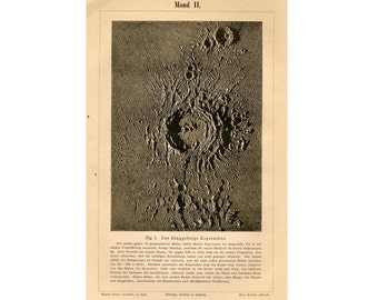 1889 MOON CRATER PRINT antique astronomy celestial lithograph