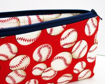 Pencil Pouch, Zippered Bag, Baseballs in Red
