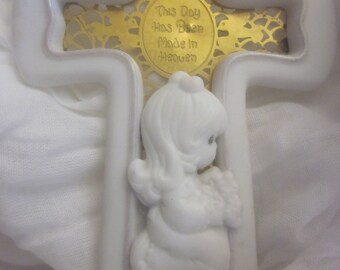 PRECIOUS MOMENTS CROSS  Collectible Gift For Baby Or Wedding