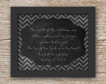 Instant. 8x10. The mouth of the righteous man... Wall Art Decor. Printable Download. Scripture. Biblical. Man Cave. Boys Room, Locker.