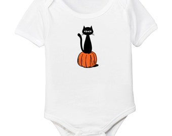 Pumpkin Cat Halloween Organic Baby Bodysuit