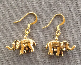 elephant earrings in brass with goldplate wires