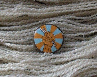 "Knit Retro Color 1"" Button for Knitting Knitters Who Knit"