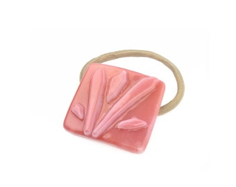 Ponytail Holder, Coral Pink Stained Glass, Floral Rose Pink, Large