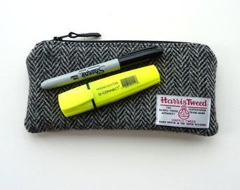 HARRIS TWEED Pencil Case, padded pouch, black and grey herringbone design, made in Scotland