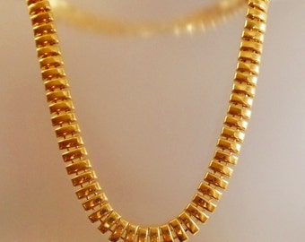 Vintage Gold Egyptian Necklace. Egyptian Revival. Chunky Gold Choker.