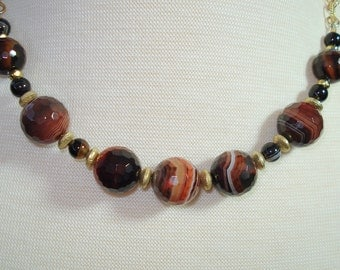 ON SALE, Red and Black Striped Agate Necklace, 14K Gold Fill Chain, 18 Inches