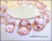 AAA Morganite Pale Pink Quartz Faceted Heart Cut Stone Briolettes, (1) Matched Pair, 12mm x 14mm, earrings, hydro quartz, bridal