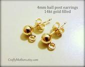 BULK BUY, 5 PAIRS 14kt Gold Filled Post Earrings, 4mm, 10 pcs, open loop, bulk priced jewelry supplies, bridal earrings, precious metals