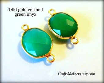 2 GREEN ONYX Bezel Set Gold Vermeil Connectors, (1) Matched Pair, 10-11mm x 17-18mm long, bezel-set