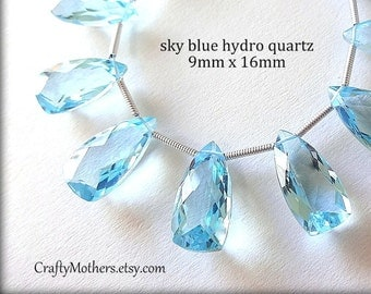 AAA Sky Blue Quartz Faceted Pyramid Briolettes, (1) Matched Pair, 9mm x 16mm, gemstone beads supplies, wedding, bridal jewelry, earrings