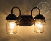 Mason Jar Light Sconce DOUBLE Lighting with Vintage Mason Pint Jars as Wall Mount by LampGoods