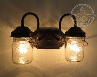 Mason Jar Light Sconce DOUBLE Vintage Pints - Lighting Wall Flush Mount Fixture Farmhouse Rustic Pendant Chandelier Fan Track by LampGoods