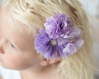 Lavender flower clip, light purple flower, bridesmaid gift, girl hair accessories, baby hair bow, girl birthday gift, flower girl hair clip