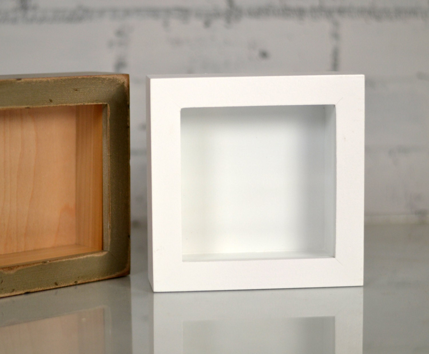 22 By 28 Frame White: Handmade Small Square Shadow Box Frame
