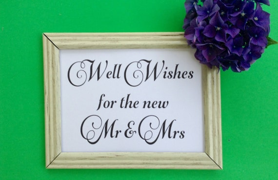 Printable Wedding Sign, Well Wishes for the New Mr and Mrs Sign, INSTANT DOWNLOAD, Wedding Reception