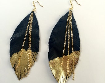 Black and gold leather feather earrings leather earrings feather earrings