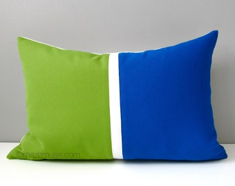 SALE - Cobalt Blue & Green Pillow Cover, Modern Decor Lime Outdoor Throw Pillow Case, Colorful Sunbrella Color Block Cushion Cover
