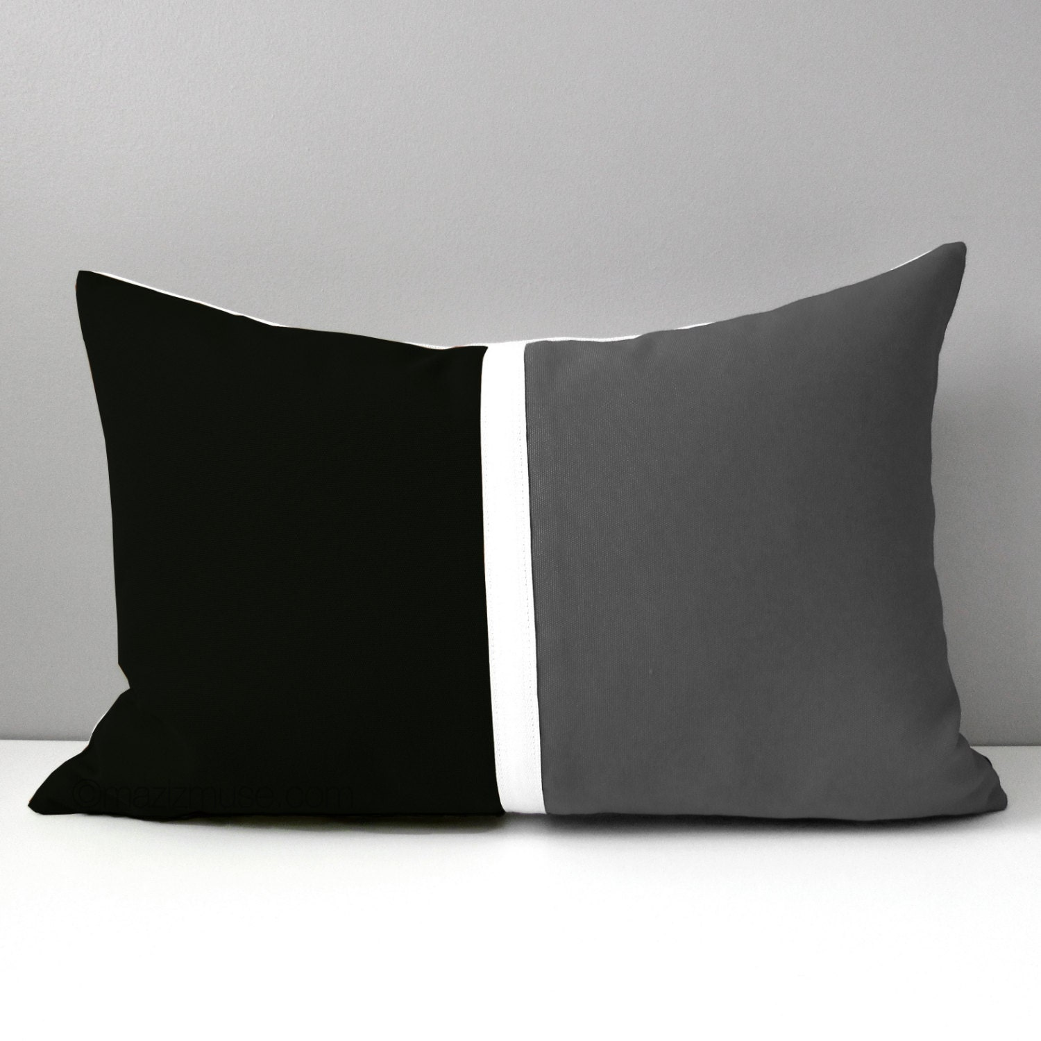 Black & Grey Pillow Cover Modern Outdoor Pillow Case by Mazizmuse