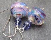 Dangle Earrings Artisan Lampwork Glass and Swarovski Crystals with Sterling Silver Ear Wires