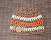 Newborn Baby Boy Beanie Cap with Small Coconut Button - Hand Crocheted