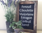 Rustic Farmhouse French Herbs Chalkboard Sign