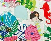 If I Were A Mermaid Fabric by Alexander Henry Cute Sketched Mermaids in Underwater Flower Garden on Pool