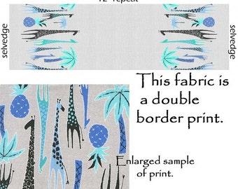 Tangier Michael Miller Giraffe Fabric Double Border Print Blue Giraffes