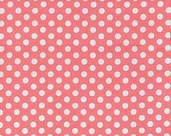 Michael Miller Fabric Polka Dot KISS 1/4 quarter inch White Dots on Shell Pink
