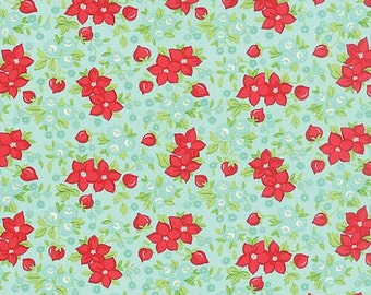 Hello Darling Fabric by Bonnie and Camille for MODA 12 Floral Tossed Red Wildflowers on Aqua Blue