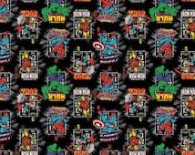 Black Marvel Fabric Avengers Fabric