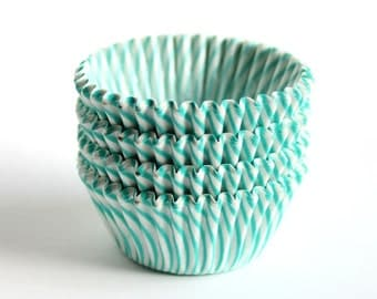 MINI Aqua Striped Cupcake Liners - 60 Count