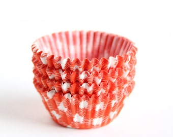 MINI Orange Gingham Cupcake Liners, Orange Baking Cups, Mini Halloween Cupcake Liners, Mini Thanksgiving Liners (60)