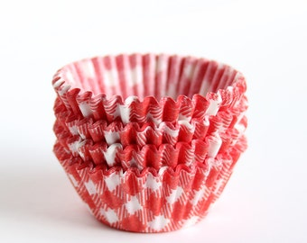 MINI Red Gingham Cupcake Liners, Red Picnic Plaid Baking Cups, Summer Party, Holiday Cupcakes (60)