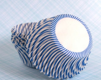 Blue Stripe Cupcake Liners, Carnival Stripe Baking Cups (50)