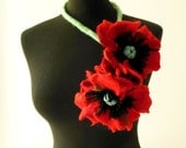 felt flowers poppies necklace lariat, eco friendly