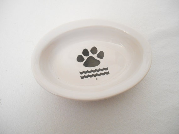 Pet Cat Dog Food Bowl Dish Ceramic Oval By Perfectcatfountain